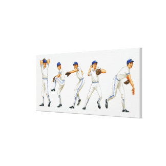 Baseball pitching technique, multiple image stretched canvas prints