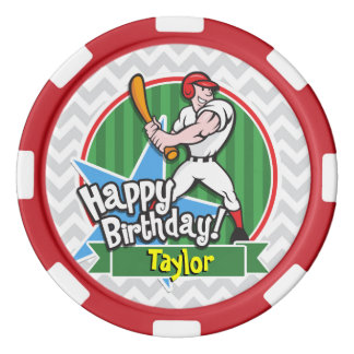 Baseball Player on Light Gray and White Chevron Poker Chips