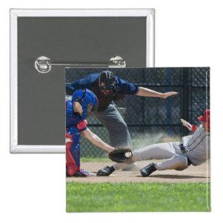 Baseball player sliding into home plate 15 cm square badge