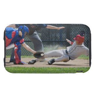 Baseball player sliding into home plate tough iPhone 3 case