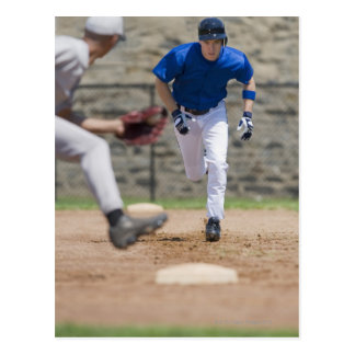 Baseball player trying to steal base postcard