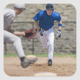 Baseball player trying to steal base square sticker