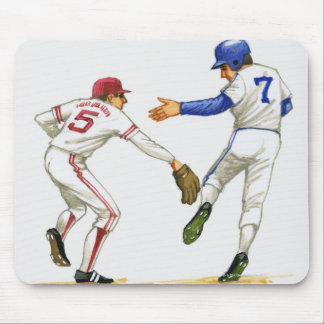 Baseball runner and fielder at a base mouse pad