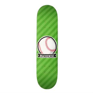 Baseball, Softball; Green Stripes Custom Skate Board