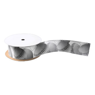 Baseball Stitches (Black and White) Satin Ribbon