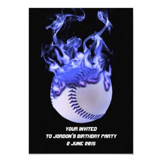 "Baseball with blue flames and smoke. 5"" x 7"" invitation card"