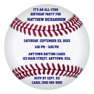 Baseball With Blue Pinstripe Back 13 Cm X 13 Cm Square Invitation Card
