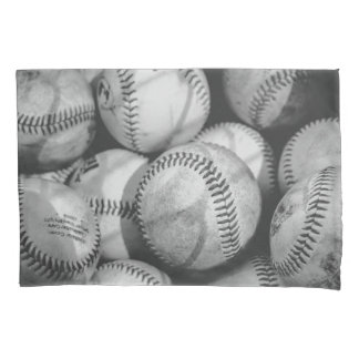 Baseballs in Black and White Pillowcase