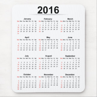 Basic 2016 calendar mouse pad
