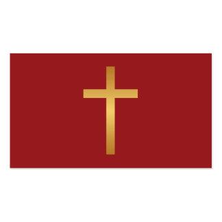 Basic Christian Cross Golden Ratio Gold Red Business Card Template