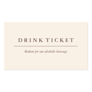 Basic Clean Eggshell Brown Drink Ticket Pack Of Standard Business Cards