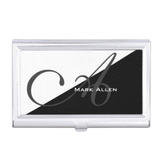 Basic Modern Black Triangle Monogram Business Card Holders