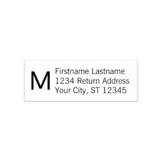 Basic Name and Return Address with Monogram Self-inking Stamp