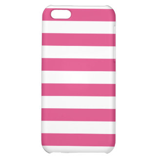 Basic Pink and White Stripes Pattern iPhone 5C Cover
