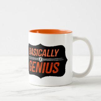 Basically a Genius (no background) Two-Tone Mug