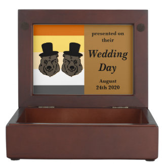 Baskerville Bear Pride Gay Grooms' Wedding Gift Keepsake Box