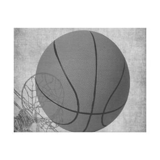 Basket Ball Love The Game in Black and White Canvas Print