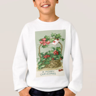 Basket Holly Winterberry Red Ribbon Sweatshirt