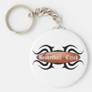 Basketball Chick Tribal Basic Round Button Key Ring