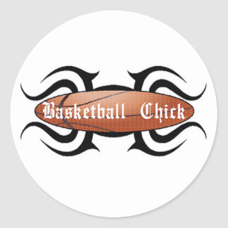 Basketball Chick Tribal Round Sticker