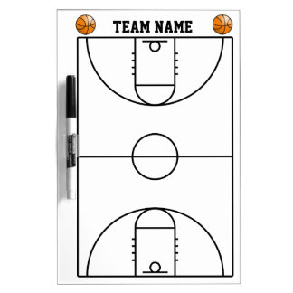 Basketball Court Layout In Black And White Dry Erase White Board