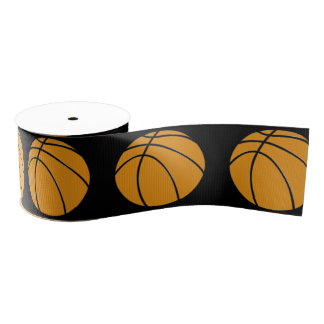 Basketball Design in Traditional Orange and Black Grosgrain Ribbon