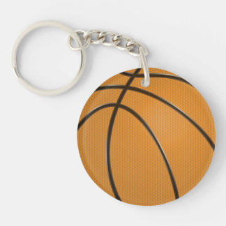 Basketball Design in Traditional Orange and Black Key Ring