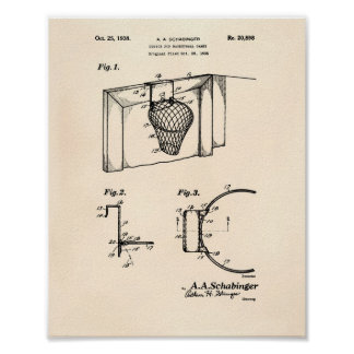 Basketball Goal 1938 Patent Art  Old Peper Poster