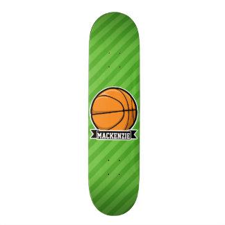 Basketball; Green Stripes Skate Board Deck