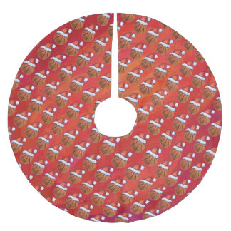 Basketball in Santa Hat Pattern Brushed Polyester Tree Skirt