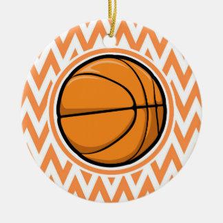 Basketball on Orange and White Chevron Round Ceramic Decoration