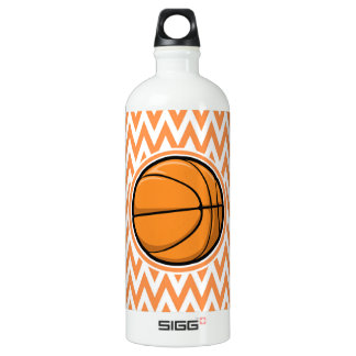 Basketball on Orange and White Chevron SIGG Traveller 1.0L Water Bottle
