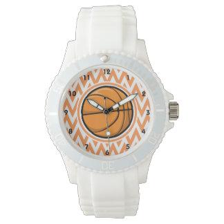 Basketball on Orange and White Chevron Wristwatch