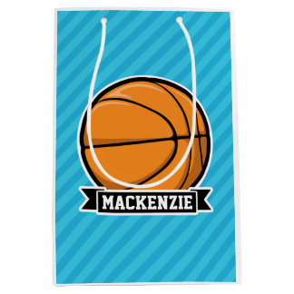 Basketball on Sky Blue Stripes Medium Gift Bag