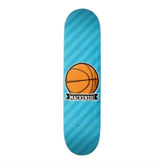 Basketball on Sky Blue Stripes Skate Board