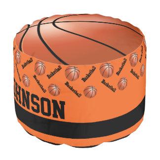 Basketball Orange Sport Pattern Pouf