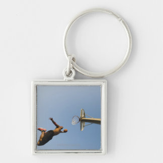 Basketball player 2 Silver-Colored square key ring