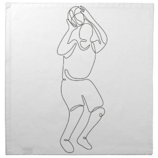 Basketball Player Free Throw Continuous Line Napkin