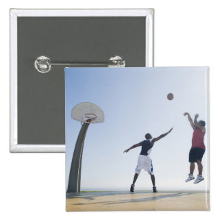 Basketball players 3 15 cm square badge