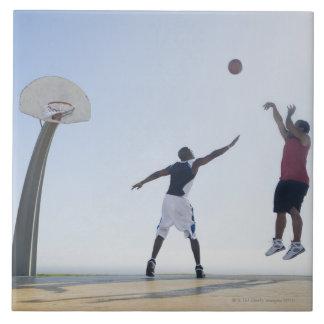 Basketball players 3 large square tile