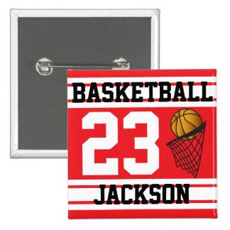 Basketball Red & White Stripes | DIY Text 15 Cm Square Badge