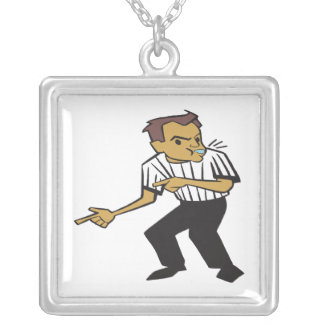 Basketball Referee Square Pendant Necklace