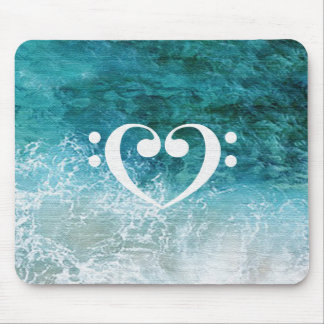 Bass Clef Heart Design Mouse Pad