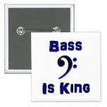 Bass is King 15 Cm Square Badge