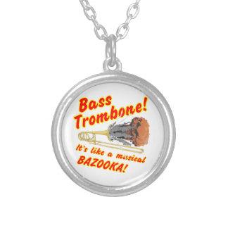 Bass Trombone Musical Bazooka Silver Plated Necklace