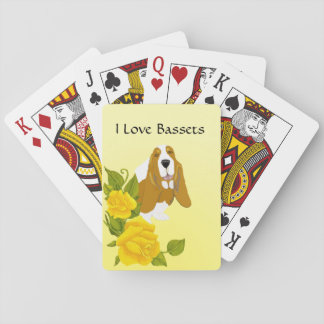 Basset Hound and Yellow Roses Playing Cards