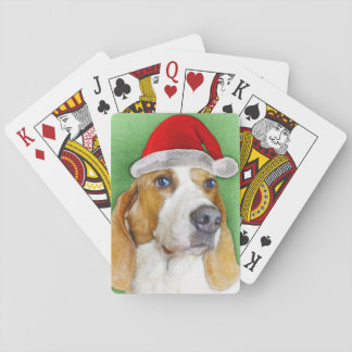 Basset hound Christmas playing cards