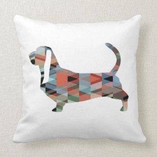 Basset Hound Dog Geometric Pattern Silhouette Throw Pillow