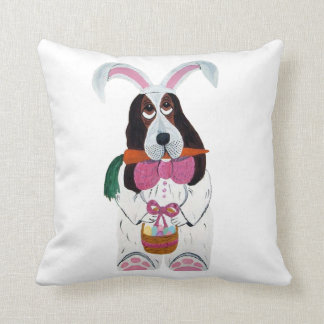 Basset Hound Easter Bunny Throw Pillow