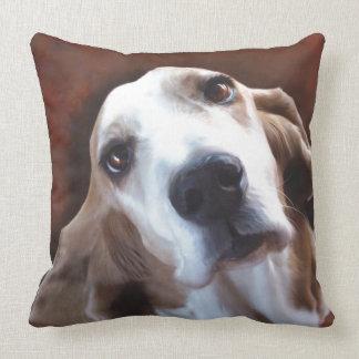 Basset Hound Fine Art Painting Portrait Throw Pillow